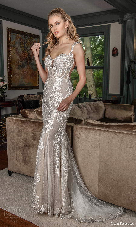 yumi katsura fall 2021 bridal sleeveless straps sweethaert neckline fully embellished mermaid sheath wedding dress chapel train (5) mv
