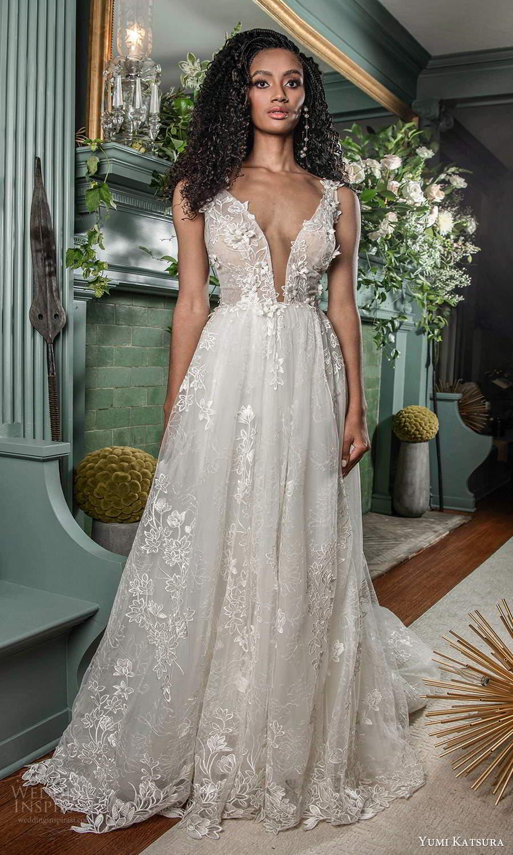 yumi katsura fall 2021 bridal sleeveless thick straps plunging v neckline fully embellished a line ball gown wedding dress chapel train (6) mv