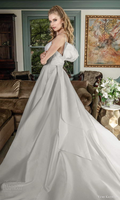 yumi katsura fall 2021 bridal sleeveless thin straps sweetheart neckline clean minimalist a line ball gown wedding dress chapel train (8) bv