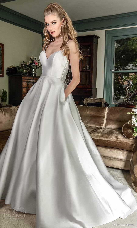 yumi katsura fall 2021 bridal sleeveless thin straps sweetheart neckline clean minimalist a line ball gown wedding dress chapel train (8) mv