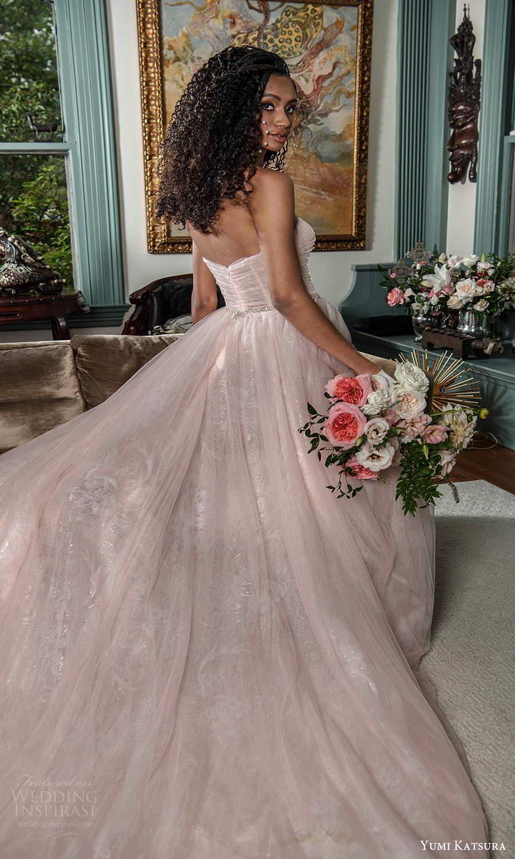 yumi katsura fall 2021 bridal strapless straight across neckline ruched bodice a line wedding dress pink blush (19) bv