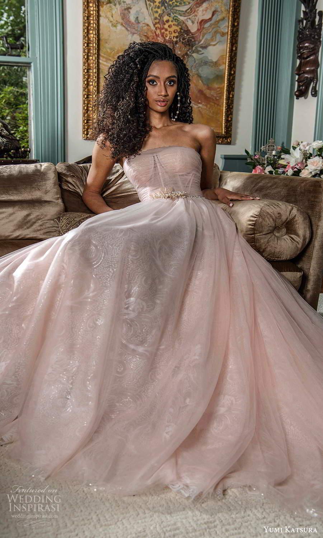 yumi katsura fall 2021 bridal strapless straight across neckline ruched bodice a line wedding dress pink blush (19) mv