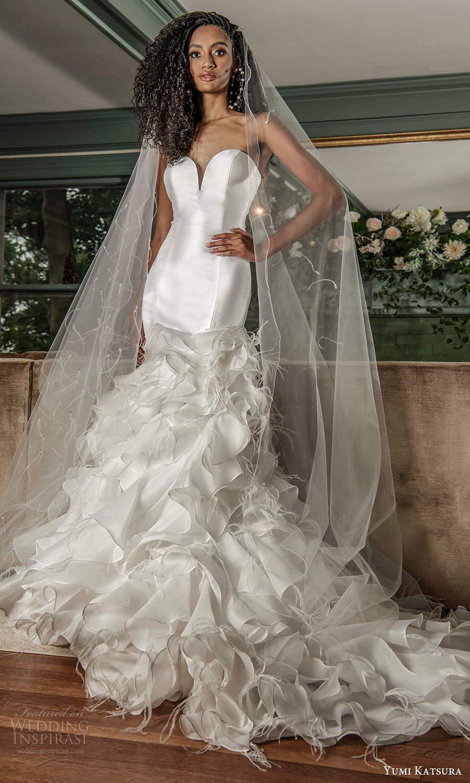 yumi katsura fall 2021 bridal strapless sweetheart neckline clean trumpet mermaid wedding dress ruffle skirt chapel train (9) mv