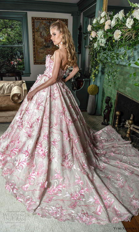 yumi katsura fall 2021 bridal strapless sweetheart neckline fully embellished a line ball gown wedding dress chapel train (21) bv