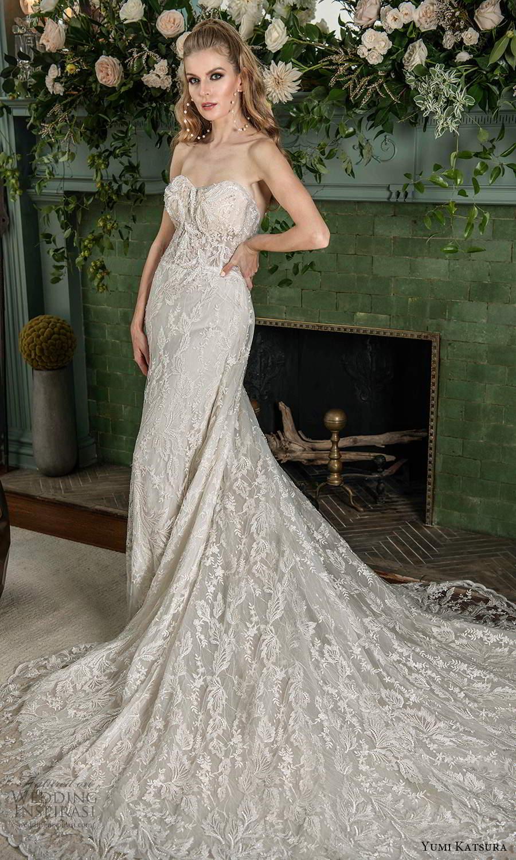 yumi katsura fall 2021 bridal strapless sweetheart neckline fully embellished sheath wedding dress chapel train (18) mv