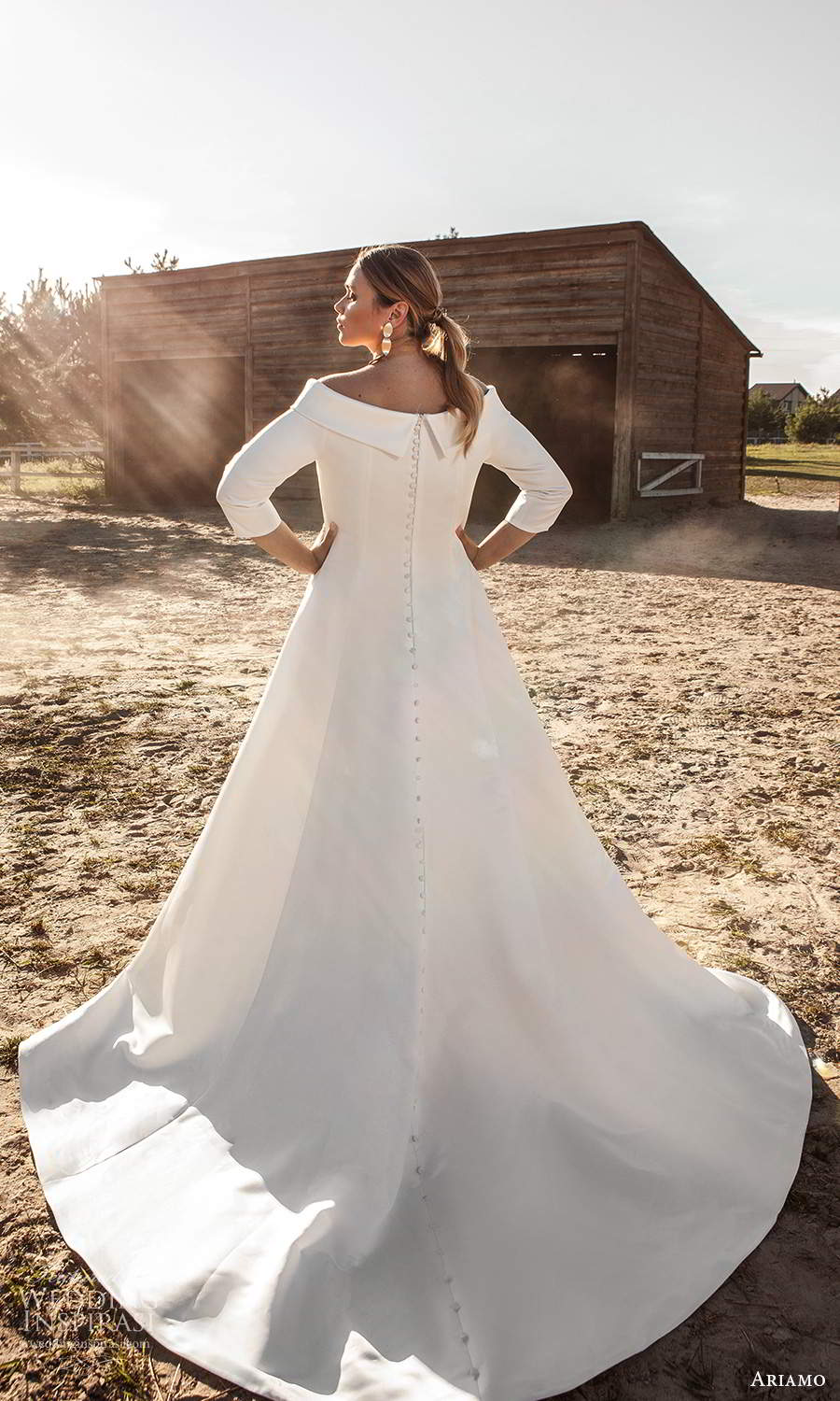 ariamo 2021 plus bridal 3 quarter sleeves off shoulder neckline clean minimalist a line ball gown wedding dress (13) bv