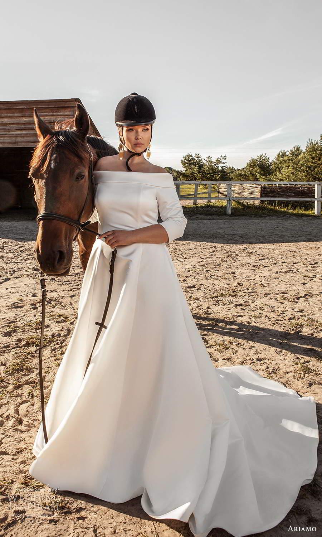 ariamo 2021 plus bridal 3 quarter sleeves off shoulder neckline clean minimalist a line ball gown wedding dress (13) mv