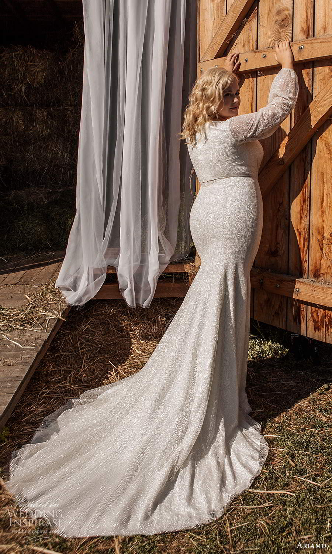 ariamo 2021 plus bridal bishop sleeves crossover v neckline embellished sheath wedding dress chapel train (13) bv