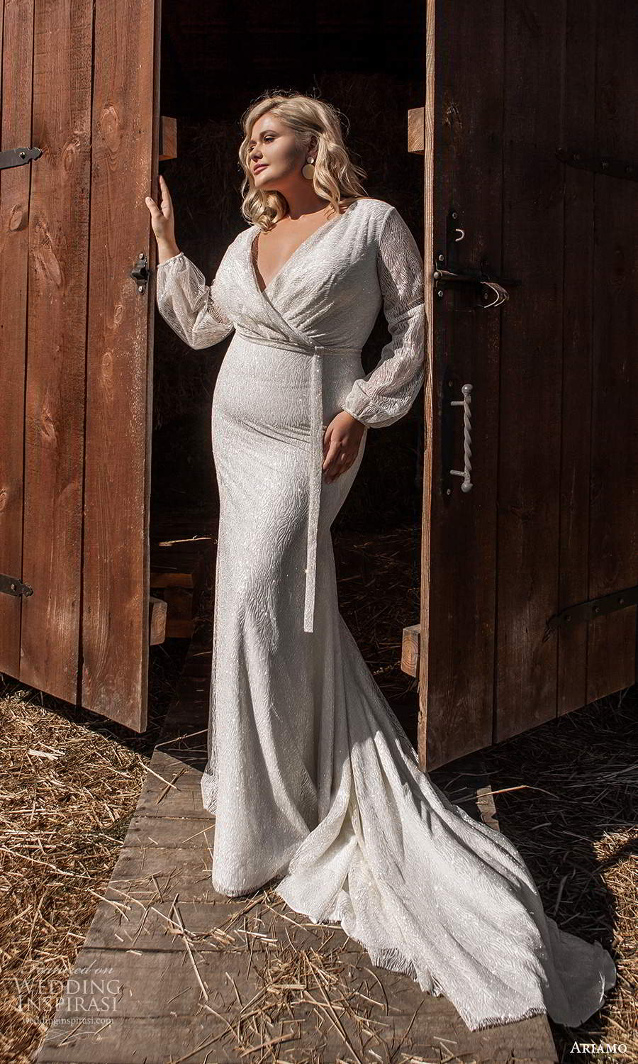 ariamo 2021 plus bridal bishop sleeves crossover v neckline embellished sheath wedding dress chapel train (13) mv