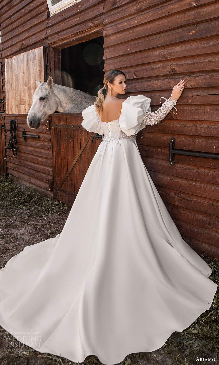 ariamo 2021 plus bridal detached long puff sleeves strapless sweetheart neckline embellished bodice a line ball gown wedding dress chapel train (3) bv