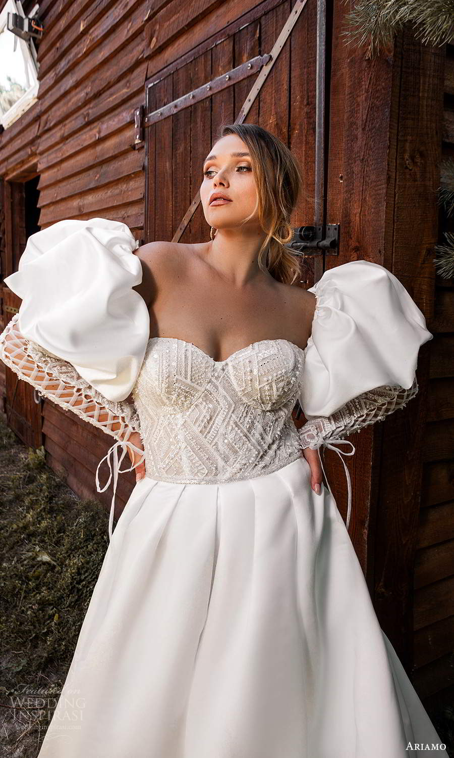 ariamo 2021 plus bridal detached long puff sleeves strapless sweetheart neckline embellished bodice a line ball gown wedding dress chapel train (3) zv