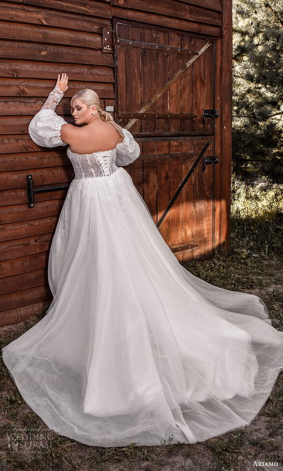 ariamo 2021 plus bridal detached puff sleeves strapless sweetheart neckline corset bodice a line ball gown wedding dress chapel train (10) bv