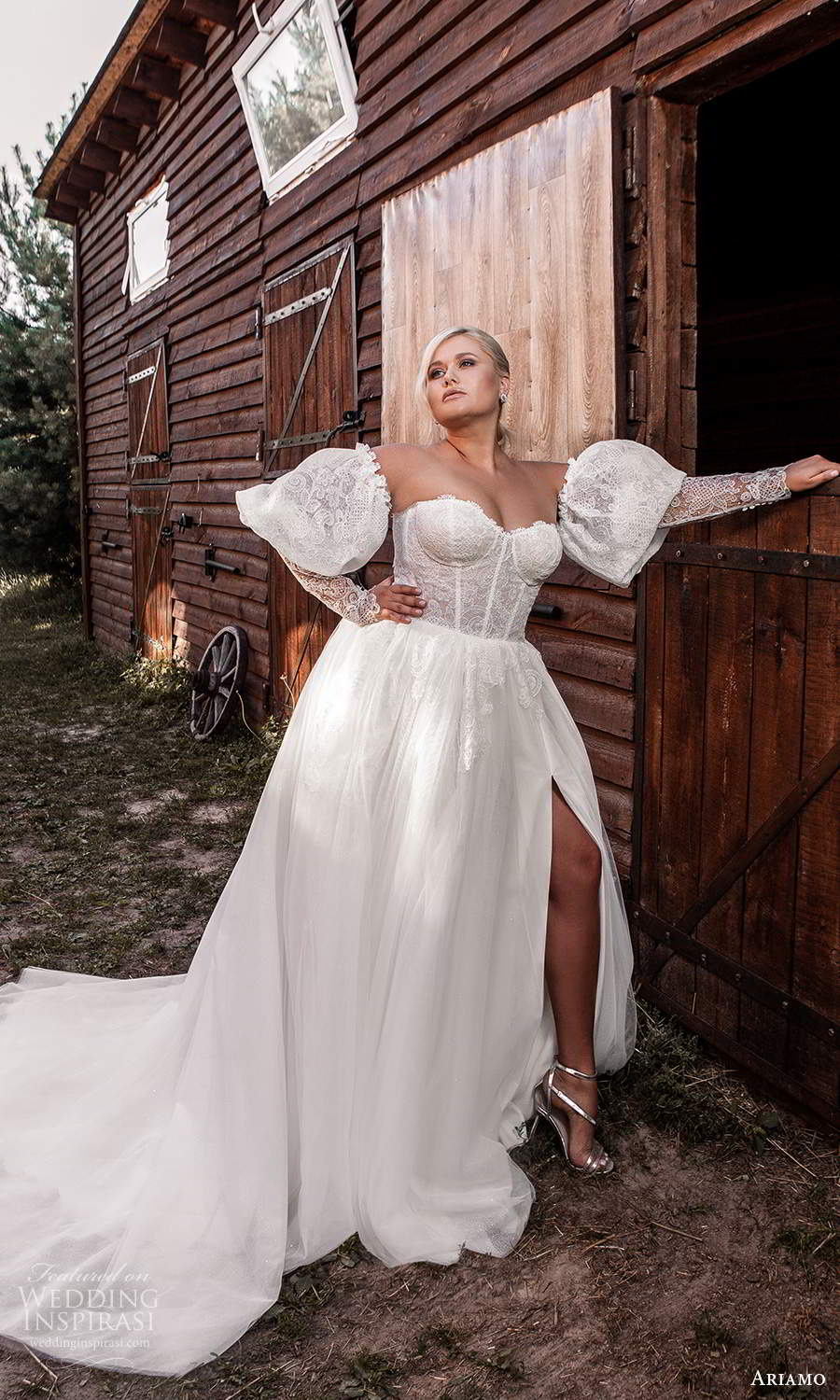 ariamo 2021 plus bridal detached puff sleeves strapless sweetheart neckline corset bodice a line ball gown wedding dress chapel train (10) mv