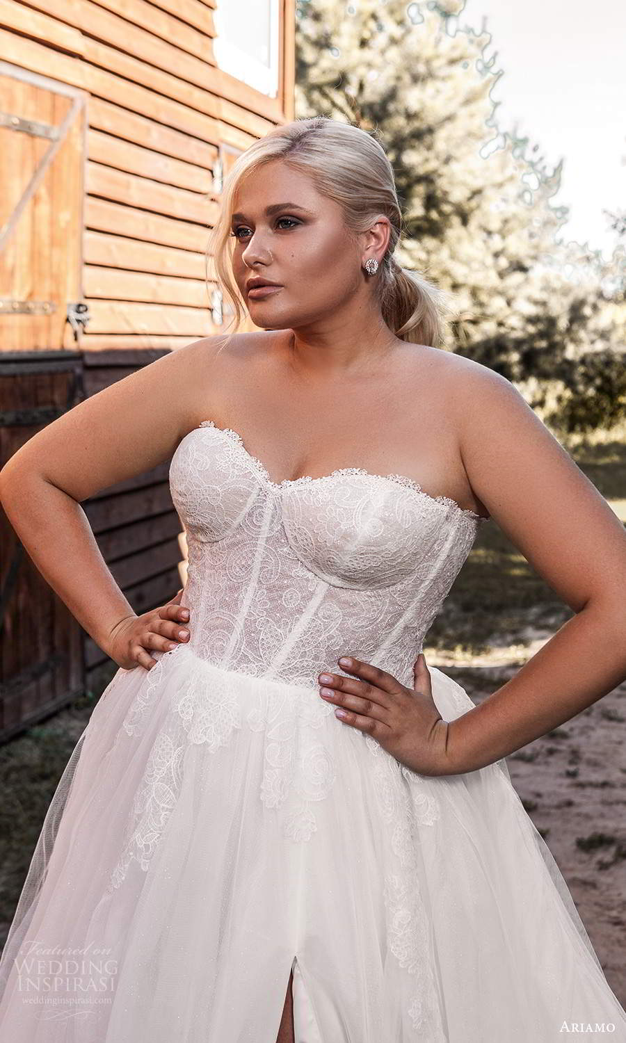ariamo 2021 plus bridal detached puff sleeves strapless sweetheart neckline corset bodice a line ball gown wedding dress chapel train (10) zv