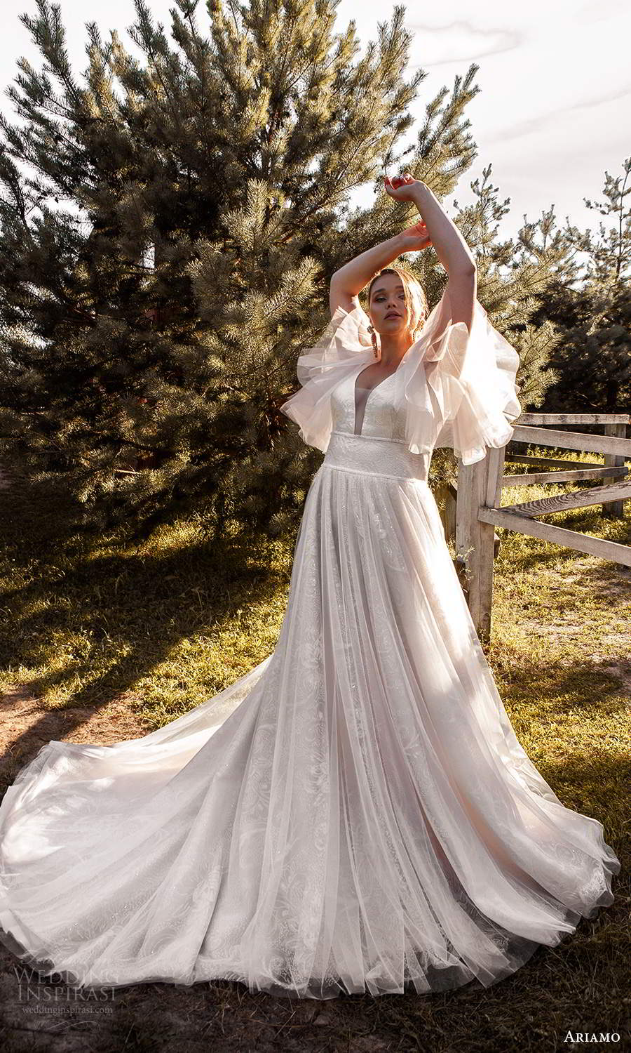 ariamo 2021 plus bridal flutter sleeves plunging v neckline embellished a line ball gown wedding dress chapel train (8) mv