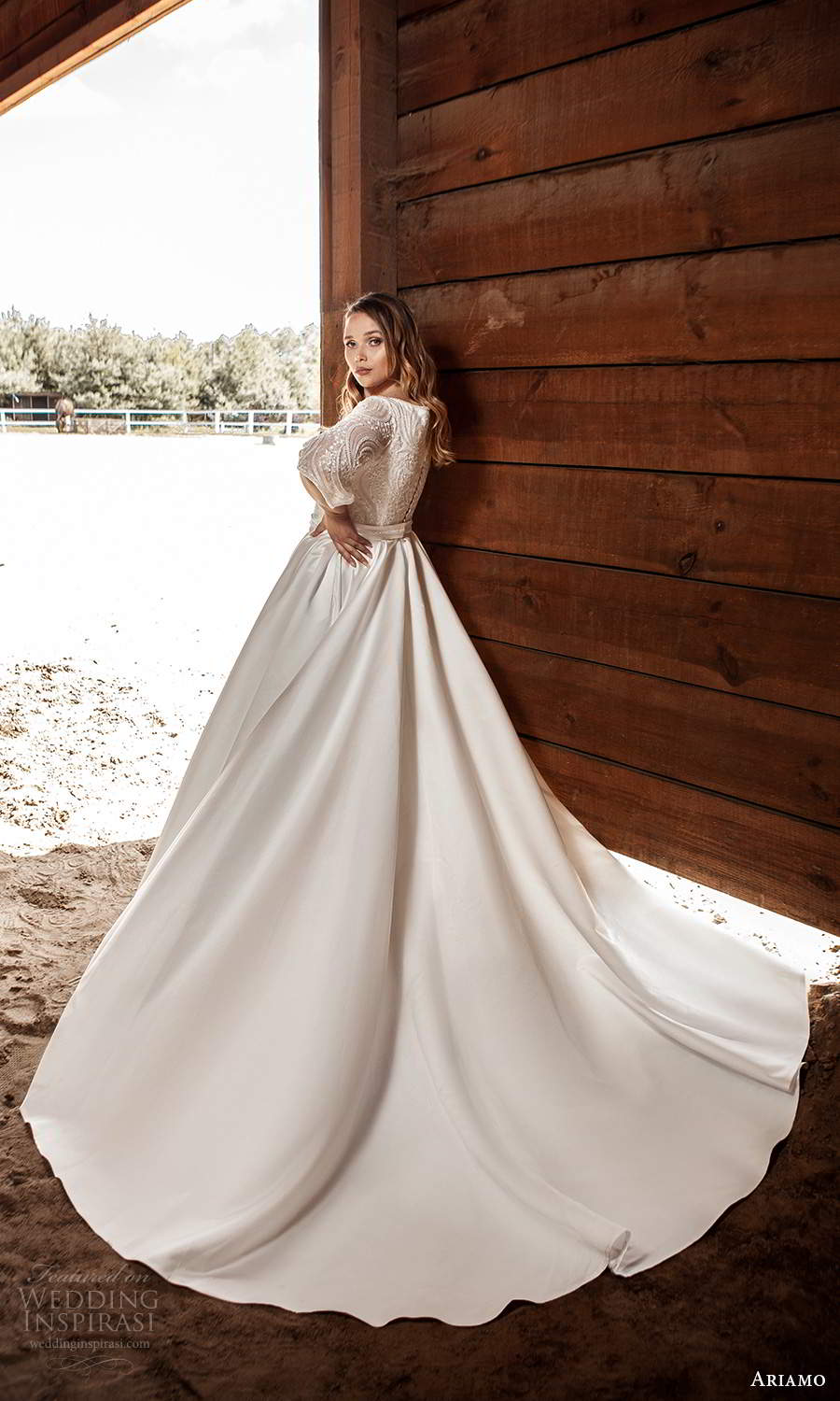 ariamo 2021 plus bridal half sleeves plunging v necklnie embellished bodice clean skirt a line ball gown wedding dress chapel train (5) bv