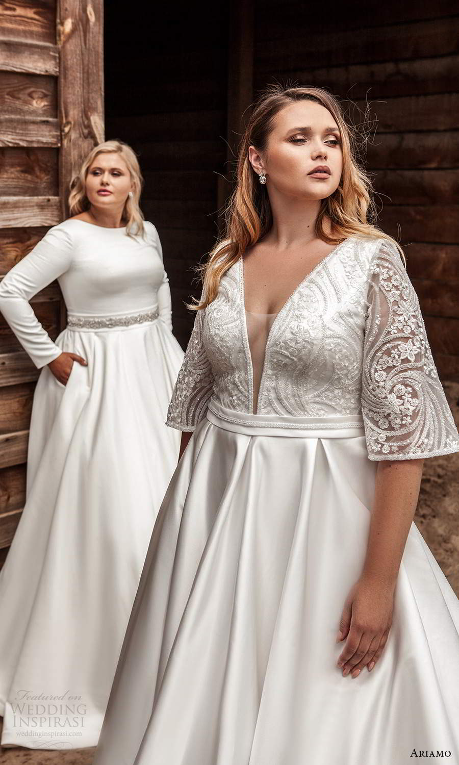 ariamo 2021 plus bridal half sleeves plunging v necklnie embellished bodice clean skirt a line ball gown wedding dress chapel train (5) fv