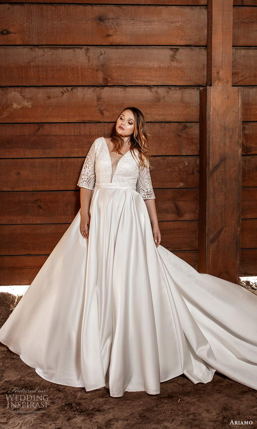 ariamo 2021 plus bridal half sleeves plunging v necklnie embellished bodice clean skirt a line ball gown wedding dress chapel train (5) mv