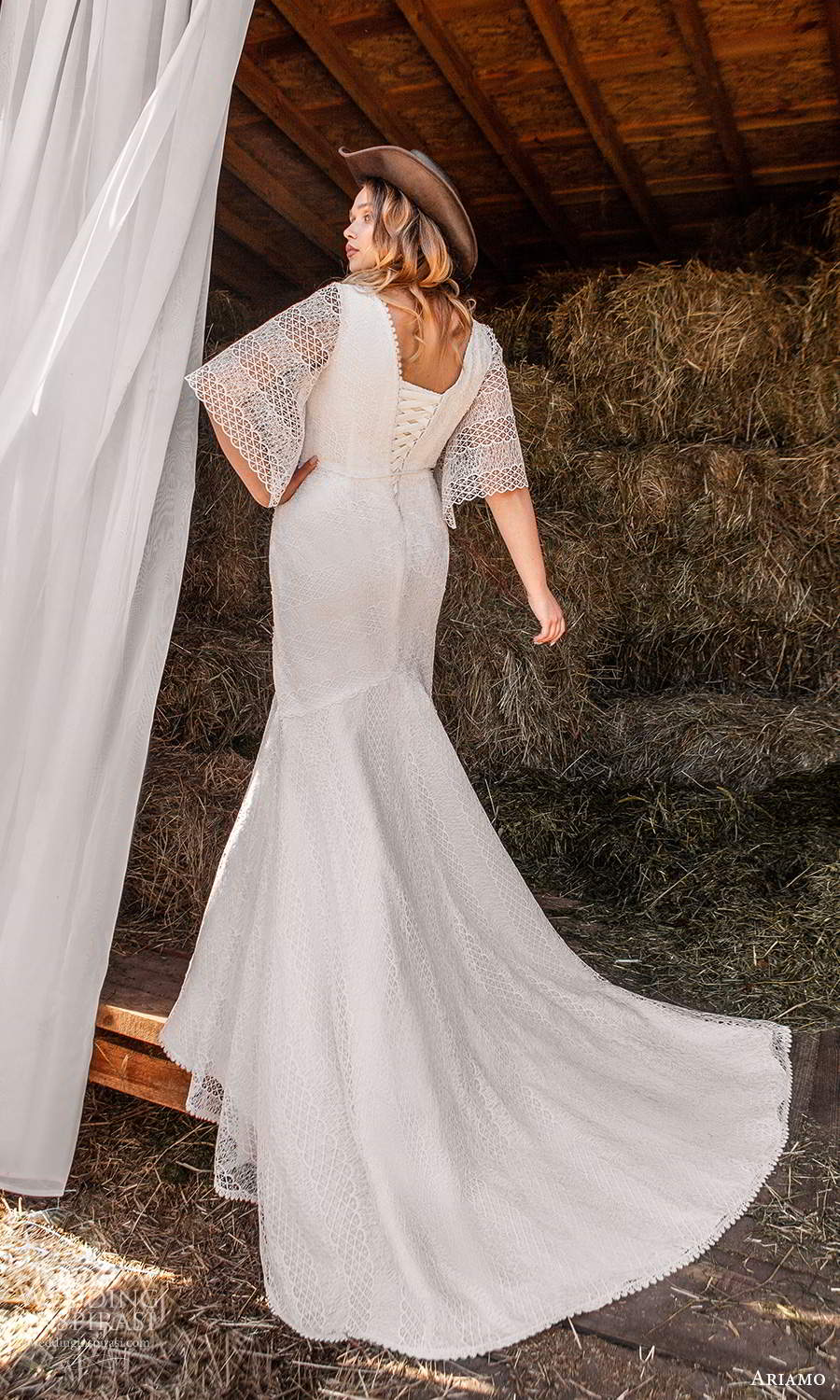 ariamo 2021 plus bridal half sleeves v neckline fully embellished fit flare wedding dress chapel train (9) bv