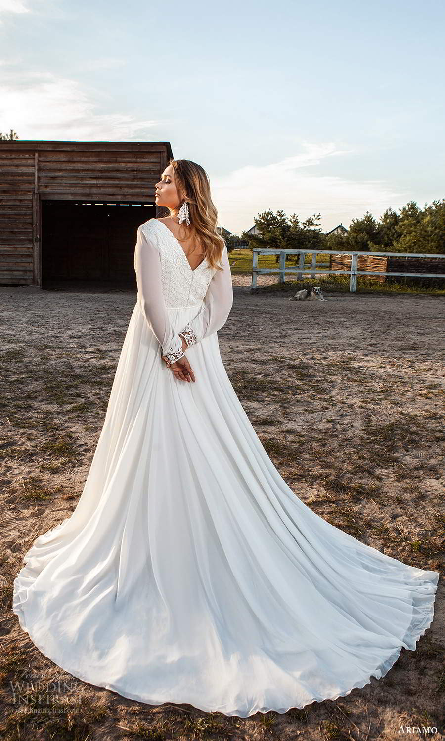 ariamo 2021 plus bridal long bishop sleeves v neckline embellished bodice a line wedding dress (9) bv