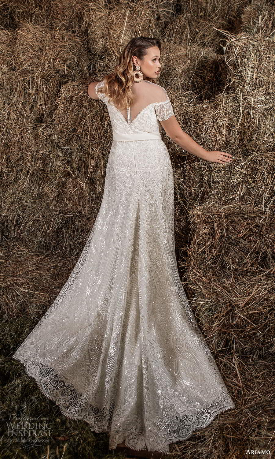 ariamo 2021 plus bridal off shoulder cap sleeves plunging sweetheart neckline fully embellished modified a line trumpet wedding dress chapel train (2) bv