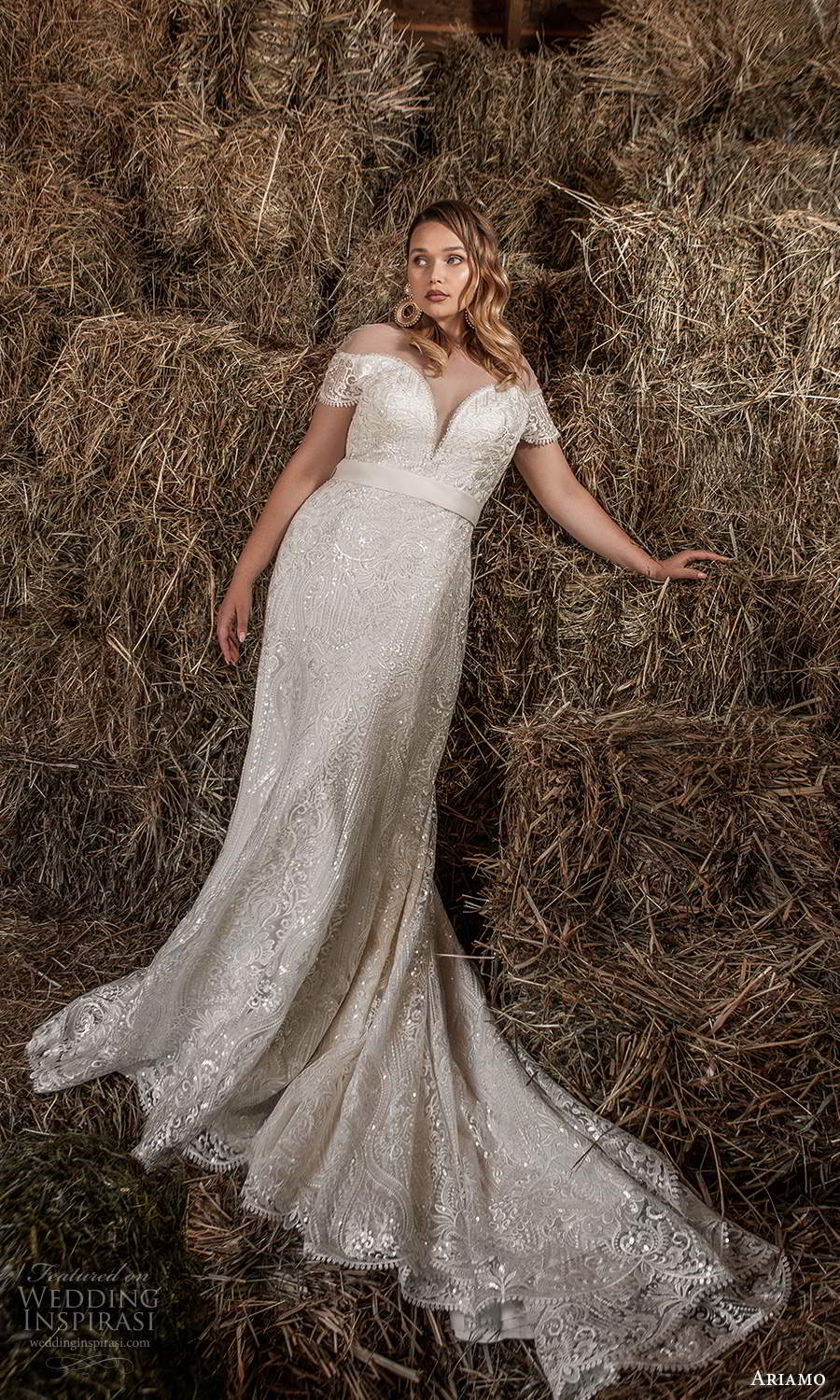 ariamo 2021 plus bridal off shoulder cap sleeves plunging sweetheart neckline fully embellished modified a line trumpet wedding dress chapel train (2) mv