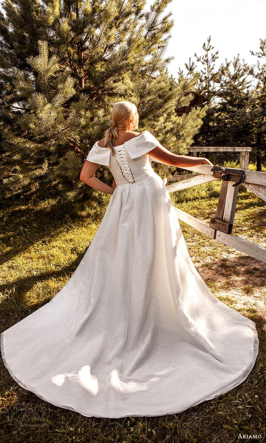 ariamo 2021 plus bridal off shoulder short sleeves cross over v neckline corset bodice minimalist a line ball gown wedding dress chapel train (6) bv