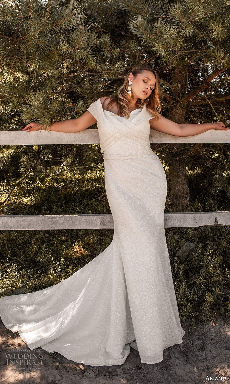 ariamo 2021 plus bridal off shoulder strap crossover sweetheart neckline clean sheath wedding dress chapel train (12) mv