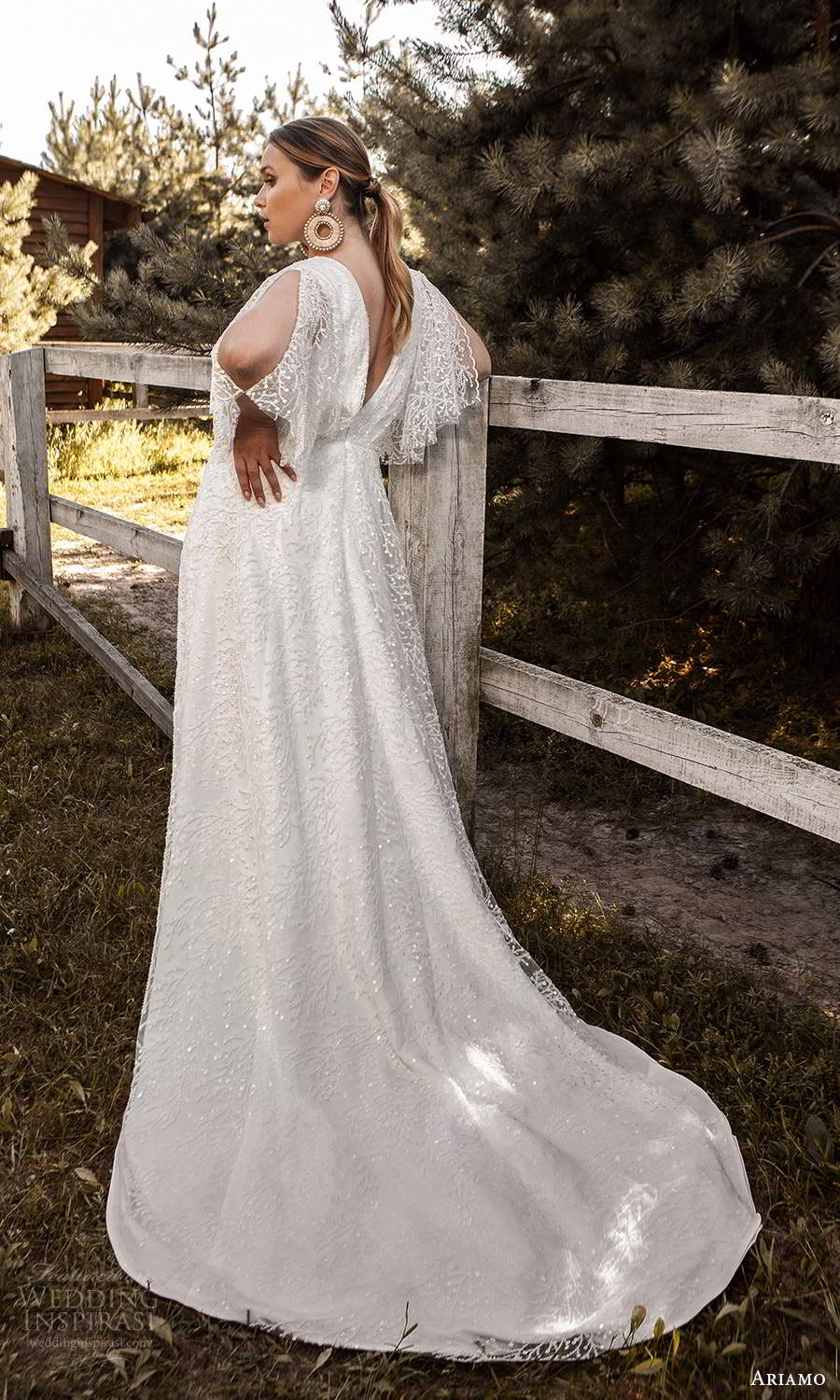 ariamo 2021 plus bridal sheer flutter sleeves v neckline crossover bodice fully embellished column sheath wedding dress chapel train (16) bv