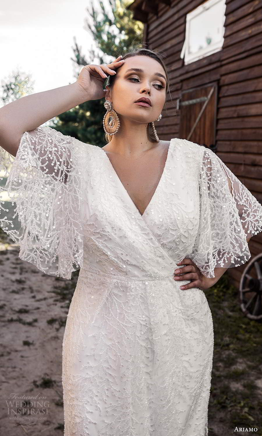 ariamo 2021 plus bridal sheer flutter sleeves v neckline crossover bodice fully embellished column sheath wedding dress chapel train (16) mv
