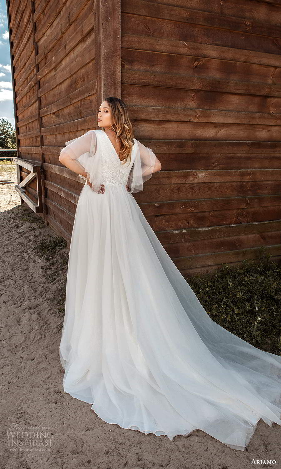 ariamo 2021 plus bridal sheer flutter sleeves v neckline embellished bodice a line ball gown wedding dress chapel train (14) bv