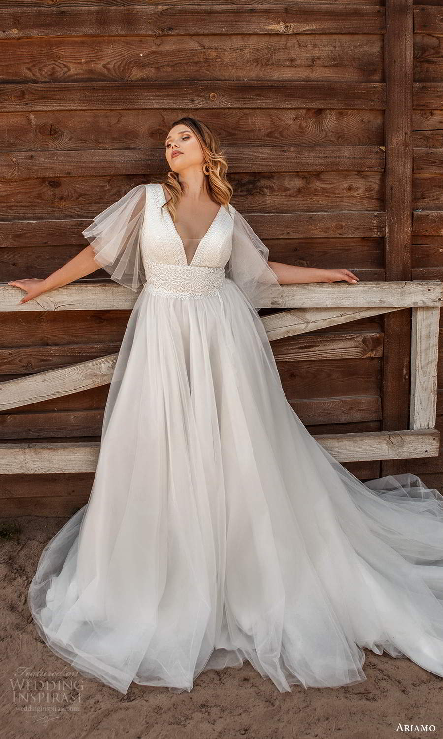ariamo 2021 plus bridal sheer flutter sleeves v neckline embellished bodice a line ball gown wedding dress chapel train (14) mv