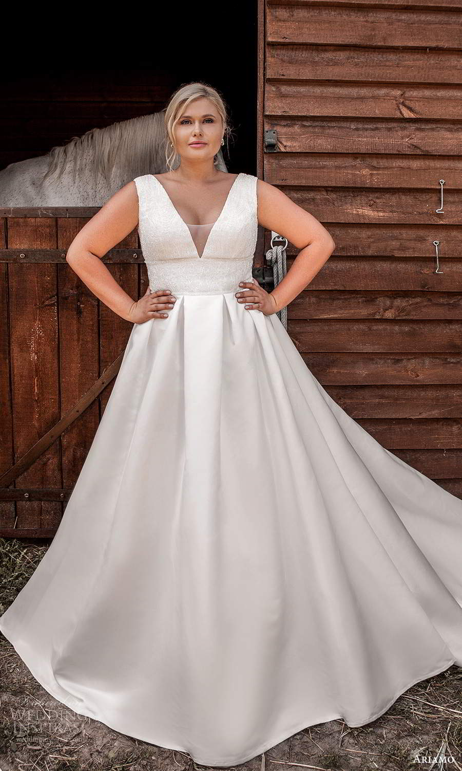 ariamo 2021 plus bridal sleeveless thick straps plunging v neckline embellished bodice a line ball gown wedding dress chapel train (11) mv