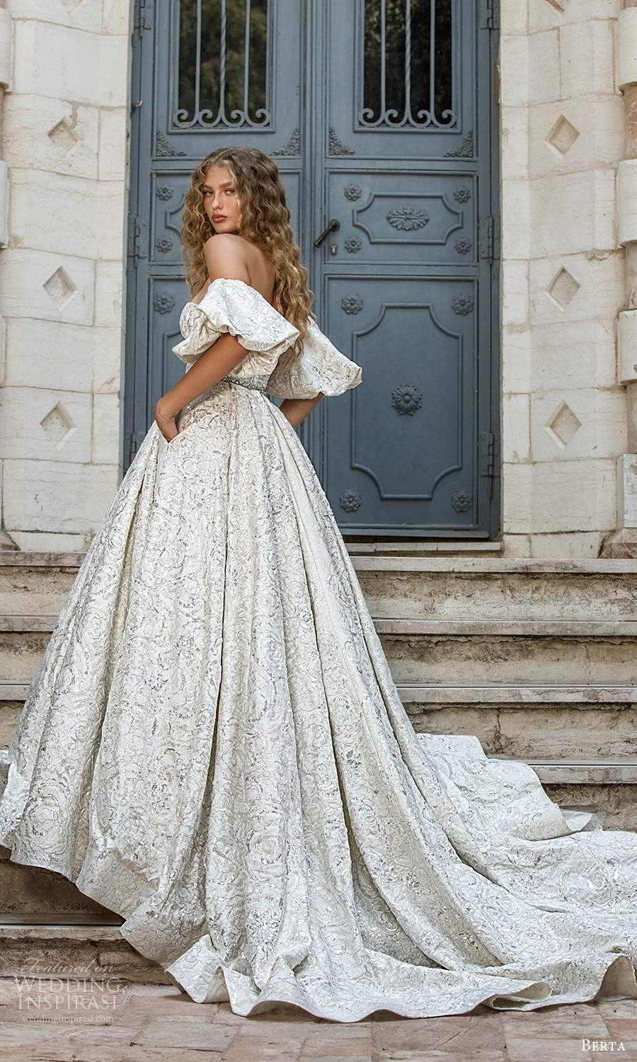 berta fall 2021 bridal detached puff sleeves strapless semi sweetheart neckline fully embellished a line ball gown wedding dress chapel train (8) bv