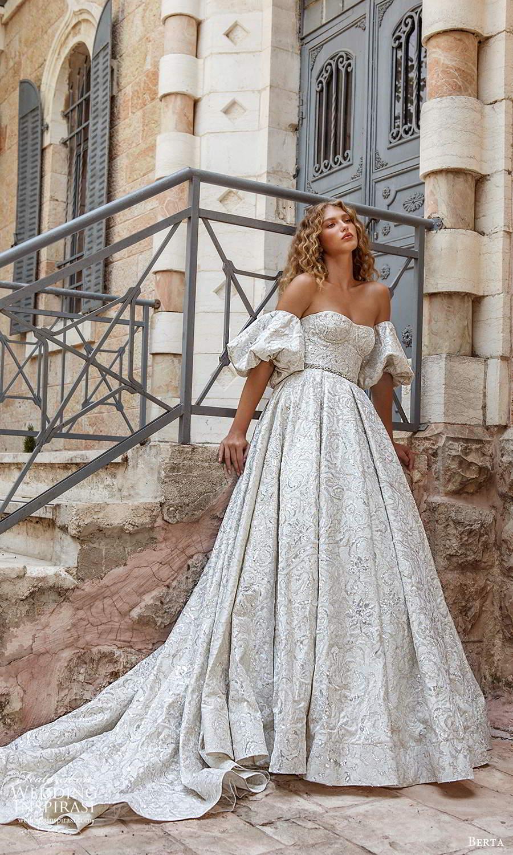berta fall 2021 bridal detached puff sleeves strapless semi sweetheart neckline fully embellished a line ball gown wedding dress chapel train (8) mv