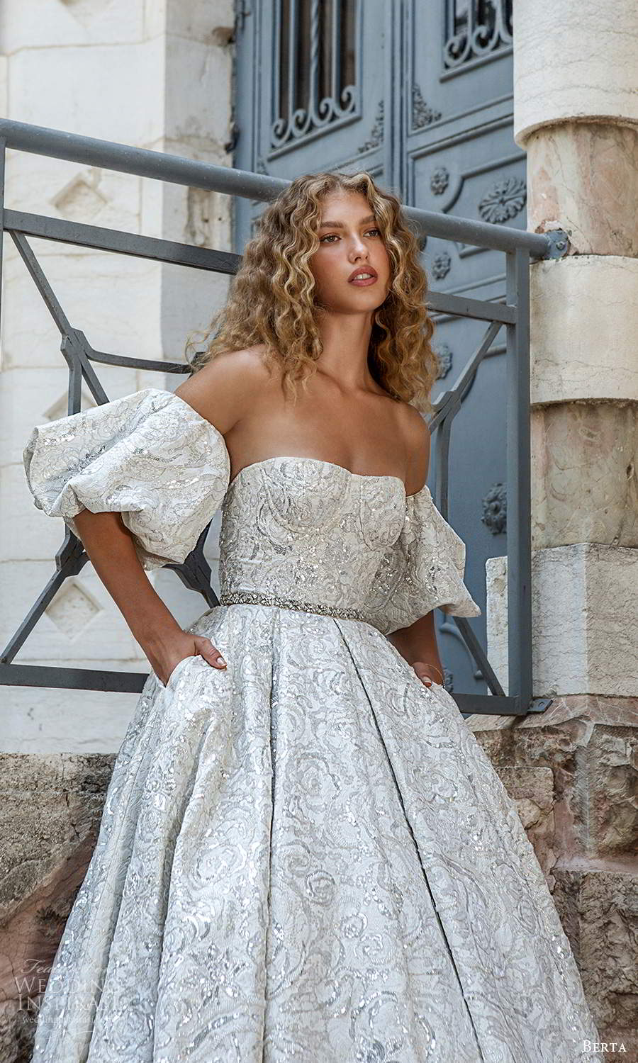 berta fall 2021 bridal detached puff sleeves strapless semi sweetheart neckline fully embellished a line ball gown wedding dress chapel train (8) zv