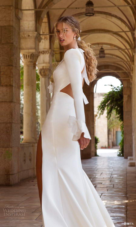 berta fall 2021 bridal long puff sleeves embellished plunging v neckline clean minimalist sheath meermaid wedding dress slit skirt chapel train (1) bv