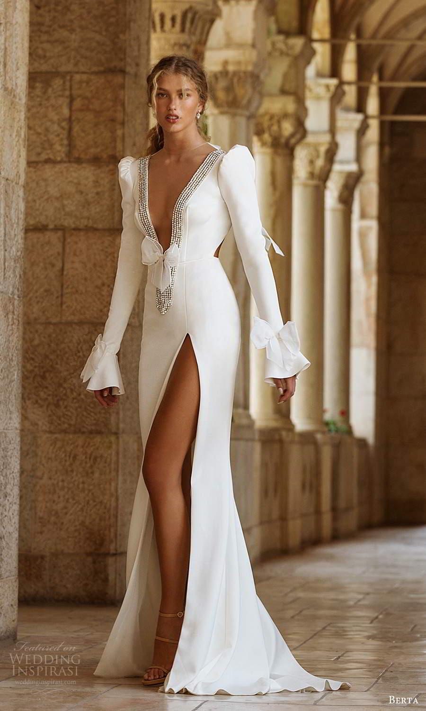 berta fall 2021 bridal long puff sleeves embellished plunging v neckline clean minimalist sheath meermaid wedding dress slit skirt chapel train (1) mv