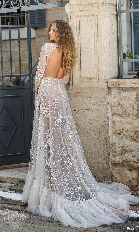berta fall 2021 bridal long sleeves crossover v neckline ruched bodice a line wedding dress slit skirt cutout back chapel train (3) bv