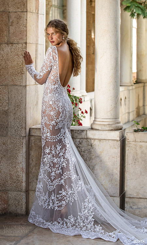 berta fall 2021 bridal long sleeves plunging v neckline fully embellished lace sheath wedding dress chapel train (5) bv