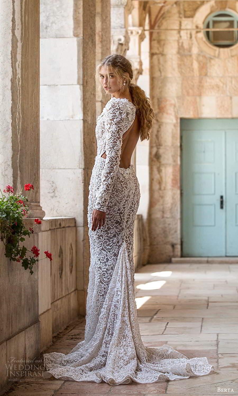 berta fall 2021 bridal long sleeves plunging v neckline fully embellished lace sheath wedding dress chapel train cutout back (12) bv
