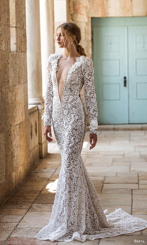 berta fall 2021 bridal long sleeves plunging v neckline fully embellished lace sheath wedding dress chapel train cutout back (12) mv