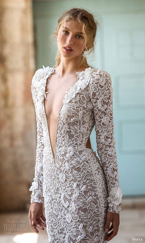 berta fall 2021 bridal long sleeves plunging v neckline fully embellished lace sheath wedding dress chapel train cutout back (12) zv