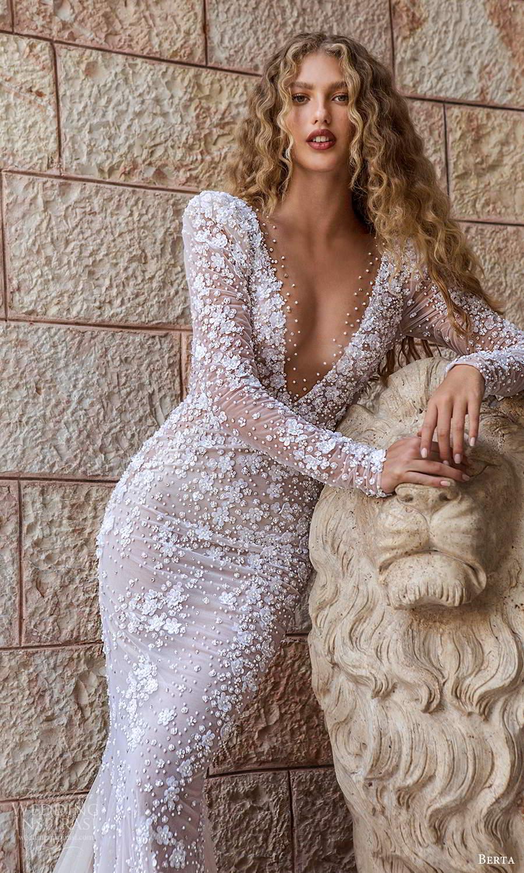 berta fall 2021 bridal long sleeves plunging v neckline fully embellished sheath wedding dress scoop back chapel train (7) zv