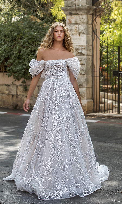berta fall 2021 bridal off shoulder puff short sleeves straight across neckline ruched bodice a line ball gown wedding dress chapel train (15) mv