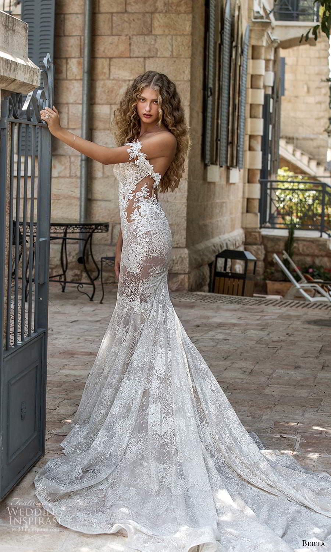 berta fall 2021 bridal off shoulder straps sweetheart neckline fully embellished fit flare mermaid wedding dress chapel train (10) bv
