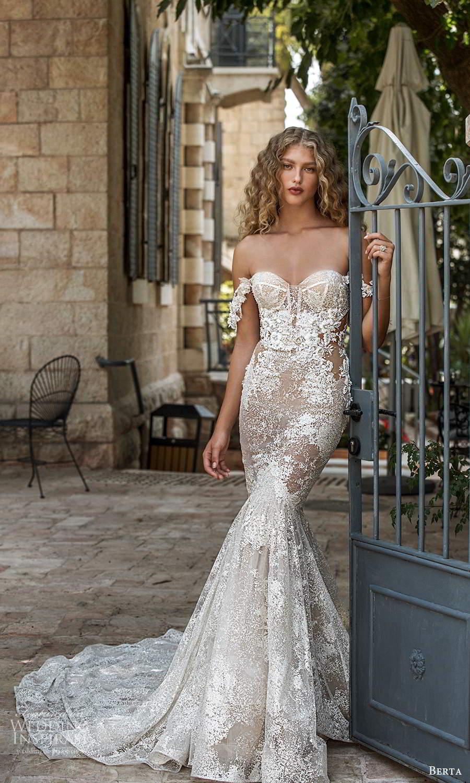 berta fall 2021 bridal off shoulder straps sweetheart neckline fully embellished fit flare mermaid wedding dress chapel train (10) mv
