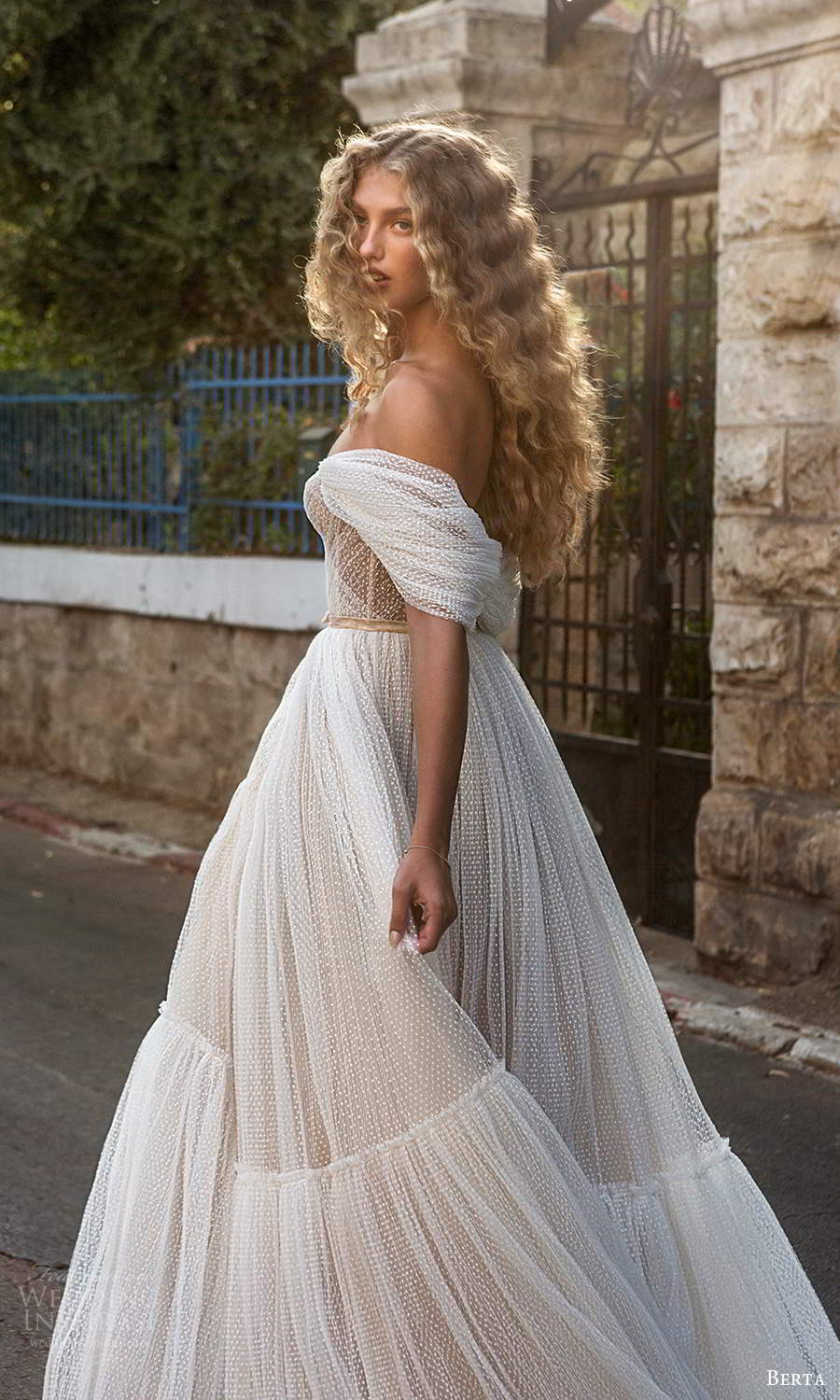 berta fall 2021 bridal off shoulder straps sweetheart neckline ruched corset bodice a line ball gown wedding dress chapel train (4) bv
