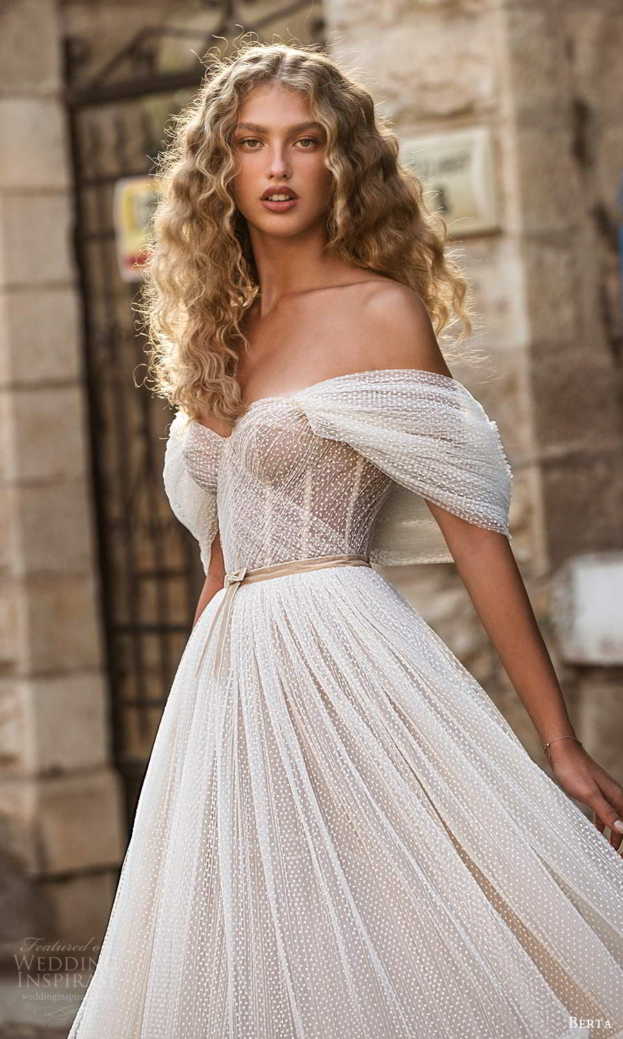 berta fall 2021 bridal off shoulder straps sweetheart neckline ruched corset bodice a line ball gown wedding dress chapel train (4) zv