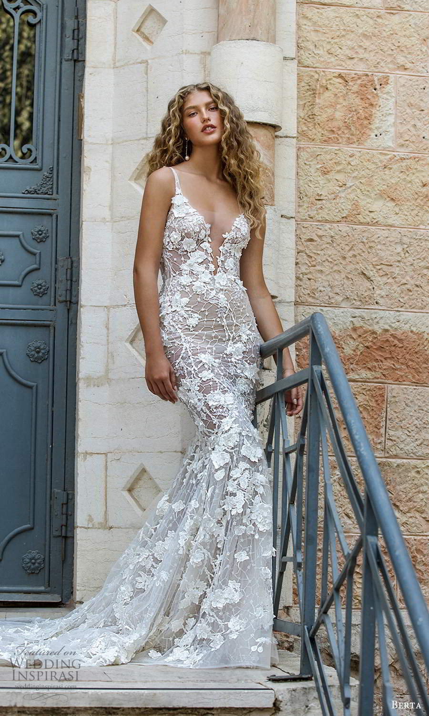 berta fall 2021 bridal sleeveless straps plunging v neckline fully embellished lace fit flare mermaid sheath wedding dress chapel train (6) mv